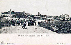 Old postcard of Torremaggiore, ducal castle to the left