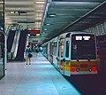 Train of Boeing LRVs waiting to depart Muni Metro's Embarcadero station in 1993.jpg