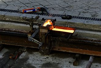 Exothermic welding - Tram tracks being joined