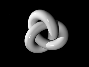 Low-dimensional topology - A three-dimensional depiction of a thickened trefoil knot, the simplest non-trivial knot. Knot theory is an important part of low-dimensional topology.