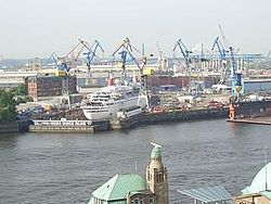 The Blohm+Voss shipyard with dry dock Elbe 17