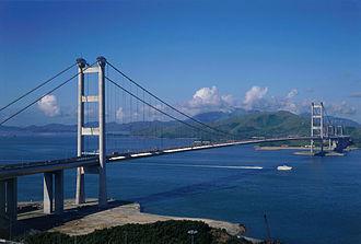 1990s in Hong Kong - Tsing Ma Bridge, opened 1997