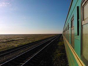 Turkestan–Siberia Railway - Turkestan–Siberia railway in southern steppe of Kazakhstan.