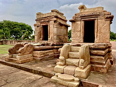 Twin Monuments near Galaganatha temple in Aihole.jpg