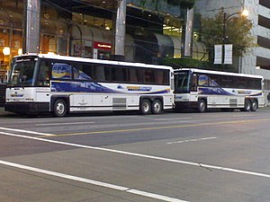 West Coast Express - Image: Two West Coast Express Buses at Waterfront Station