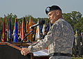 U.S. Army Lt. Gen. Robert L. Caslen, Jr., commanding general, of Combined Arms Center at Fort Leavenworth, Kansas, speaks to the audience, during Signal Center commanding general change of command ceremony, in 100721-A-NF756-034.jpg