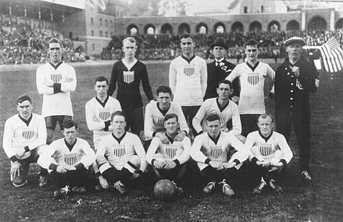 The first U.S. official formation in 1916, Stockholm Olympic Stadium, Sweden U.S. soccer team, 1916.jpg
