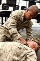 U. S. Marine Cpl. Ruelito Cabral with Combat Logistics Company, Combat Logistics Regiment 2, 2nd Marine Logistics Group, checks for a pulse on a simulated casualty as he undergo combat lifesaver training during 120904-M-KS710-004.jpg