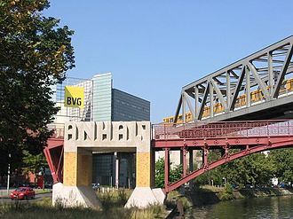 Berlin–Halle railway - The U1 U-Bahn viaduct above the old railway bridge, near the former Anhalter Bahnhof, crossing over the Landwehrkanal