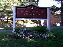 University Of Maine At Farmington Sign Outside Roberts Learning Center Former Names