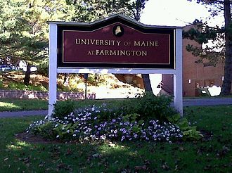 University of Maine at Farmington - University of Maine at Farmington sign outside Roberts Learning Center