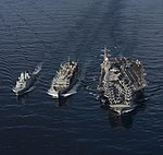 USNS Supply resupplies the Danish Navy frigate and USS George H.W. Bush during a replenishment-at-sea. (32189958064).jpg