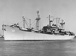 USS Bayfield (APA-33) at Charleston, South Carolina (USA), on 4 January 1950 (NH 99242).jpg
