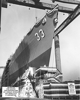 Todd Pacific Shipyards, Los Angeles Division - Image: USS Fox (DLG 33) ready for launching, 21 November 1964