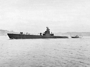USS Jack (SS-259) - Jack (SS-259) underway off Mare Island California, 17 December 1943.