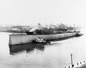 USS Kentucky (BB-66) - Kentucky being towed to the scrapyard, less her severed bow