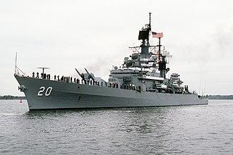 USS Richmond K. Turner - Richmond K. Turner returning to Charleston after 1987-1988 deployment.