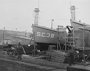 USS SC-36, USS SC-38, USS SC-39 under construction 27 November 1917.jpg