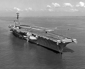 USS Saratoga (CV-60) - Saratoga in Hampton Roads, Virginia, during the International Naval Review, 1957.