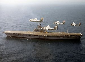 USS Ticonderoga (CVS-14) with S-2E Trackers 1970.jpg
