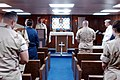 US Navy 021231-N-9867P-009 A U.S. Navy Chaplain conducts religious services aboard ship. The Mount Whitney and her embarked Marines are deployed to the Horn of Africa region to conduct missions in support of Operation Enduring.jpg