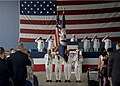 US Navy 030823-N-4459K-001 Honored guests and participants render honors during the singing of the national anthem at the disestablishment ceremony for Fleet Composite Squadron Eight (VC-8).jpg