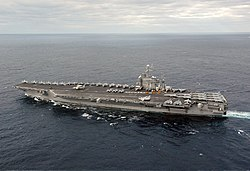 US Navy 031130-N-6278K-001 USS George Washington (CVN 73) sails off the coast of Florida