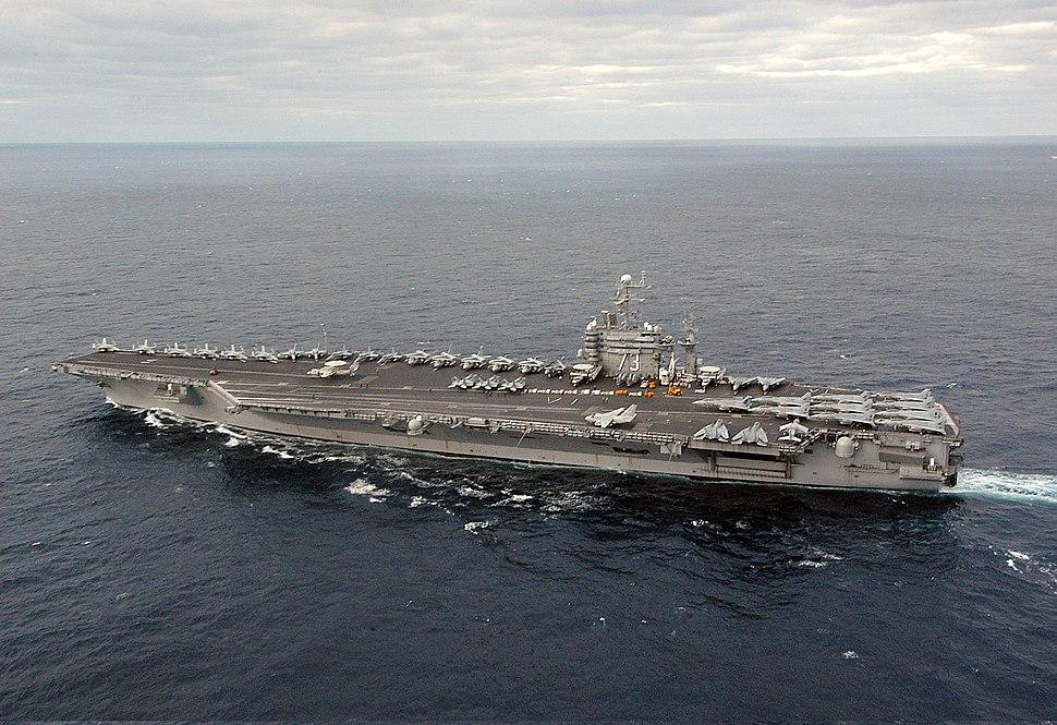 US Navy 031130-N-6278K-001 USS George Washington (CVN 73) sails off the coast of Florida