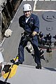 US Navy 040603-N-6477M-052 Fire Controlman 2nd Class Derek J. Carpenter repels from the O-3 level of the guided missile frigate USS Rodney M. Davis (FFG 61).jpg