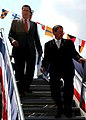 US Navy 040828-N-2354M-003 Florida Governor, Jeb Bush, escorted by Mr. Joe Hanna, from Northrop Grumman, depart the guided missile destroyer USS Momsen (DDG 92).jpg