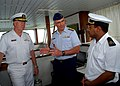 US Navy 070517-N-6544L-002 Commander, U.S. Sixth Fleet Vice Adm. John Stufflebeem and Commander, U.S. Coast Guard Atlantic Area Vice Adm. D. Brian Peterman discuss maritime security with the commanding officer of a Mauritanian.jpg