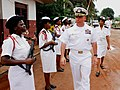 US Navy 080110-N-8933S-074 Capt. John B. Nowell Jr., commodore, Africa Partnership Station (APS) is greeted by an all-female Gabonese Navy honor guard as he arrives to an APS meeting with Gabonese Regional Naval Commander Capt.jpg