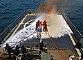 US Navy 100419-N-6138K-711 Spanish navy sailors aboard the Spanish navy Servola-class offshore patrol vessel SPS Centinela (P 72), demonstrate how to combat a flight deck fire.jpg