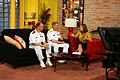 US Navy 100524-N-6220J-014 KATV-TV news reporter Melinda Mayo interviews Rear Adm. Raymond P. English and Lt. Cmdr. Mike Weyenberg about the schedule of events of Little Rock Navy Week 2010.jpg