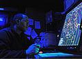 US Navy 110206-N-0569K-011 Air-Traffic Controller Airman Steven Doyle controls aircraft during flight operations aboard the aircraft carrier USS En.jpg