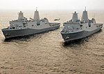 US Navy 110609-N-VL218-336 The amphibious transport dock ships USS San Antonio (LPD 17) and USS New York (LPD 21) are underway together in the Atla.jpg