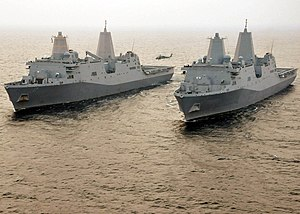 San Antonio-class amphibious transport dock - Image: US Navy 110609 N VL218 336 The amphibious transport dock ships USS San Antonio (LPD 17) and USS New York (LPD 21) are underway together in the Atla