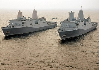 San Antonio-class amphibious transport dock - Image: US Navy 110609 N VL218 336 The amphibious transport dock ships USS San Antonio (LPD 17) and USS New York (LPD 21) are underway together in the Atla