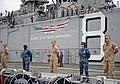 US Navy 110810-N-DX615-008 Sailors and Marines man the rails aboard USS Makin Island (LHD 8).jpg