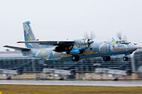 Ukraine Air Force Antonov An-26 take off at Lviv Airport.jpeg