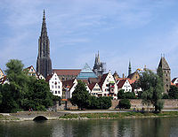View towards the old town of Ulm, Germany, from the right bank of the Danube.