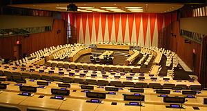 United Nations Economic and Social Council - The room of the United Nations Economic and Social Council. UN headquarters, New York City, New York, U.S.