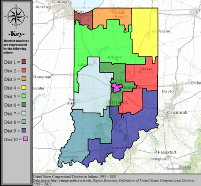 Indianas Congressional Districts Wikipedia - Us State Legislature Map