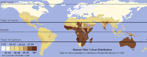 Human variability - A skin color map of the world from data collected on native populations prior to 1940, based on the von Luschan chromatic scale