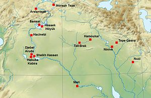 Tepe Gawra - Tepe Gawra on the map of Uruk period archaeological sites in Upper Mesopotamia and Anatolia