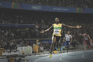 2011 World Championships in Athletics – Men's 4 × 100 metres relay - Usain Bolt wins the gold medal for Jamaica