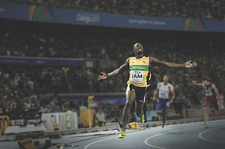 Usain Bolt wins the gold for Jamaica in the men's 4 × 100 metres relay at the 2011 World Championships in Athletics.