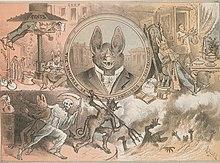 Cartoon politique présentant les propriétaires terriens de San Francisco comme des vampires, en 1882