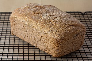 Whole wheat bread - Image: Vegan no knead whole wheat bread loaf, September 2010