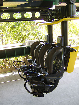 Train (roller coaster) - An inverted roller coaster car with over-the-shoulder restraints